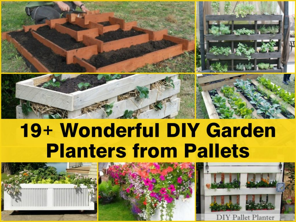 19 wonderful diy garden planters from pallets for Recycle pallets as garden planters