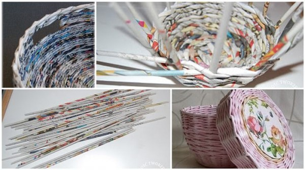 Basket Making Using Newspaper : Beautiful diy ideas for old newspapers