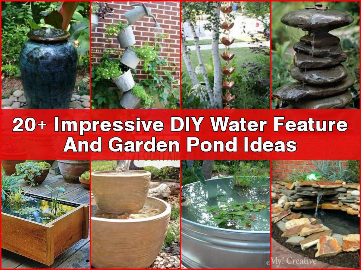 20 impressive diy water feature and garden pond ideas for Garden feature ideas